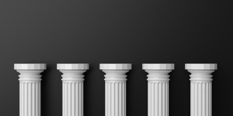 five pillars in a horizontal row