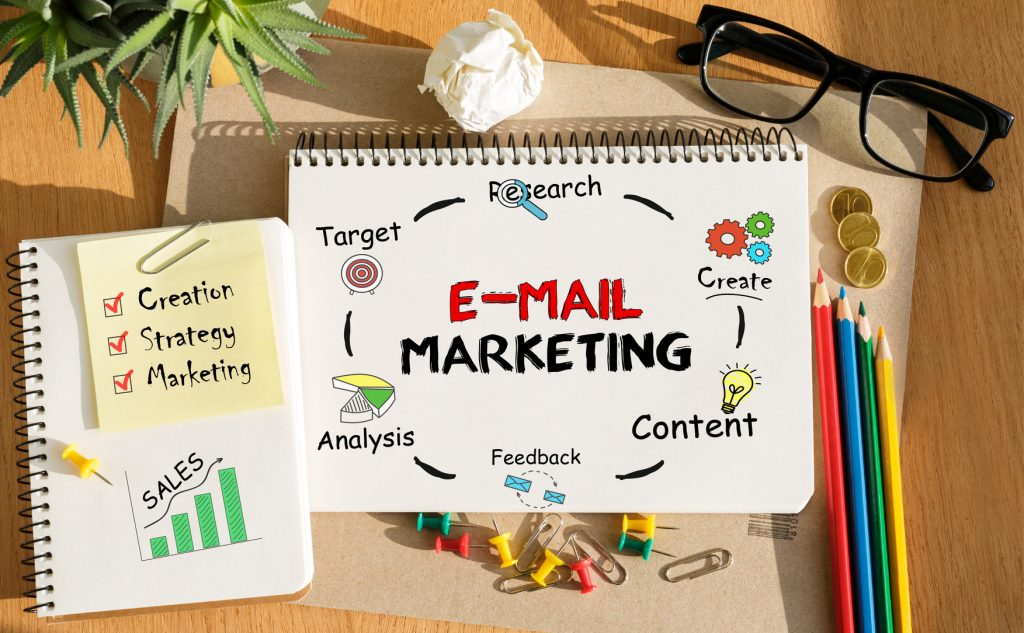 Notebook with Toolls and Notes about E-mail Marketing,concept conversion email marketing